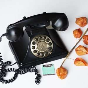 antique black rotary dial phone with a teal sticky note that says love this in front of it and orange tomatillos on a branch next to it on a white back drop