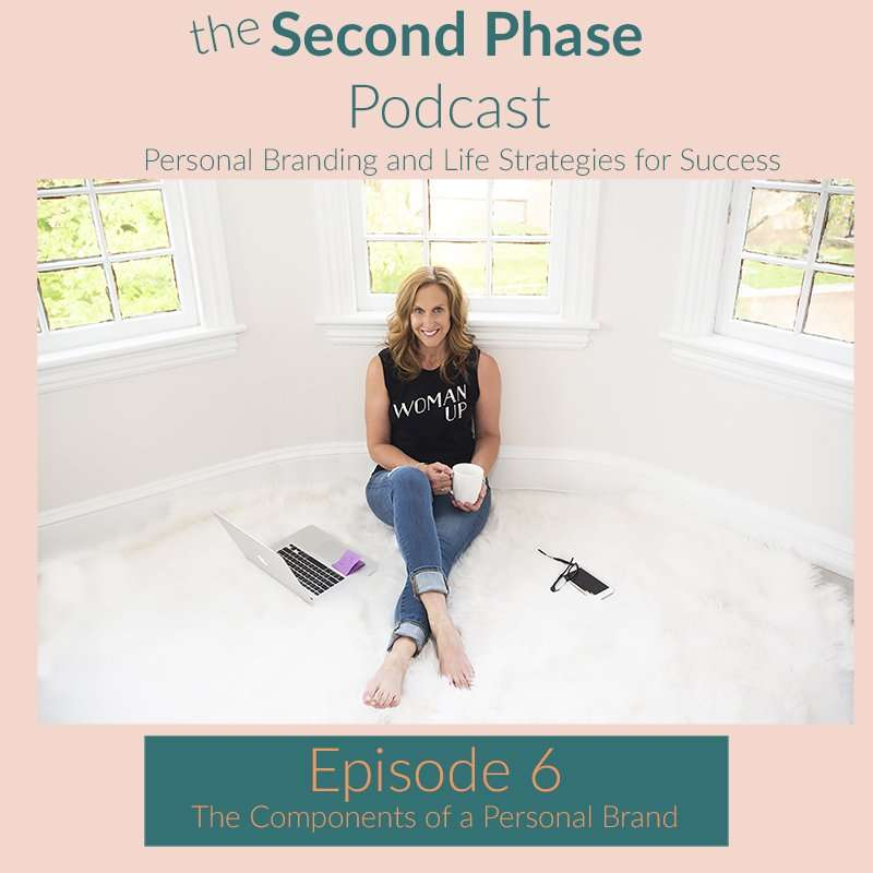 The Second Phase Podcast graphic for episode 6 A brand isn't just a logo anymore. Robyn is sitting on the floor with her right leg over her left holding a cup of coffee. She is wearing a black tank top that says woman up and a pair of distressed jeans. she is smiling.