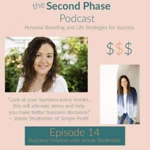 Jennie Schottmiller is a cpa and therapist who is helping people so they can help others. This is the graphic for the second phase podcast. there are two pictures of Jennie and dollar signs because she teaches people how to do their business finances.