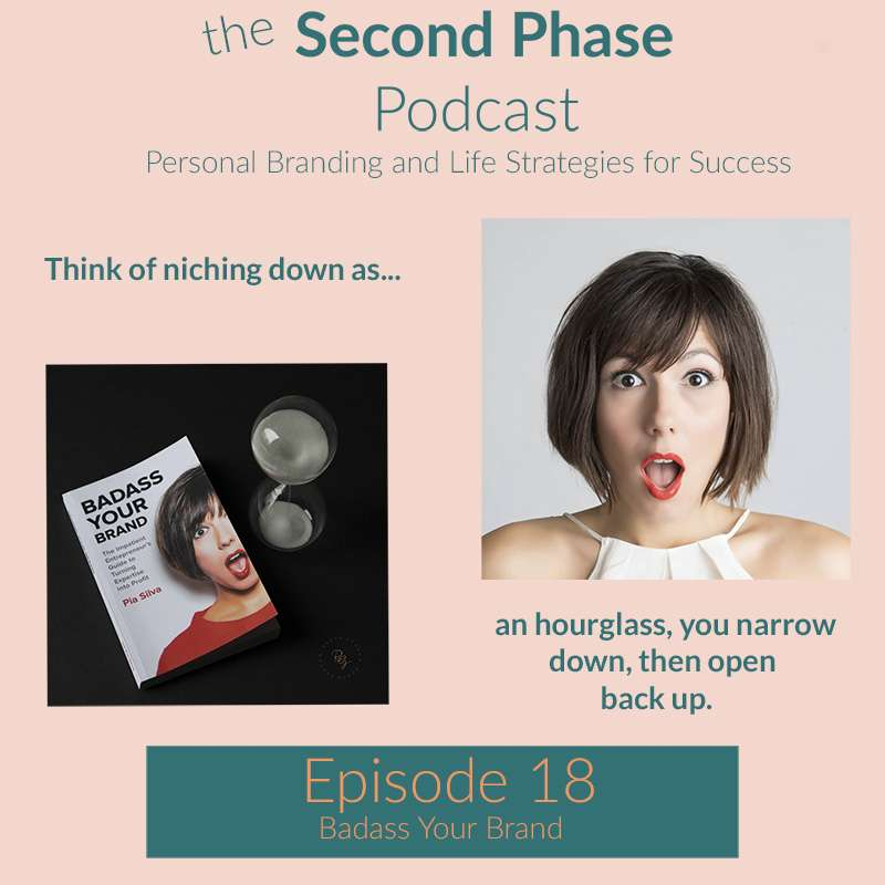 Pia Silva is author of Badass Your Brand and a small business branding expert. This is the podcast graphic for The Second Phase Podcast.