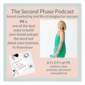 KJ Blattenbuaer interviewed on The Second Phase Podcast to share her PR strategies. In the podcast graphic she is wearing one of her Vieve and Jo green dresses.