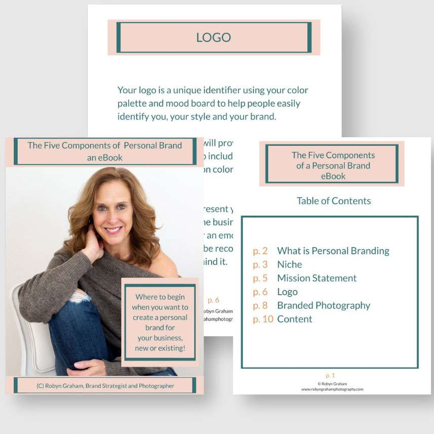 The graphic of the free ebook on the 5 components of a personal brand