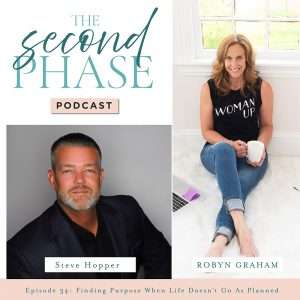 steve hopper, speaker and author interviewed on The Second Phase Podcast. The podcast graphic has Steve's headshot on the bottom left corner, Robyn's photo on the right side of the graphic and the logo of the podcast in the upper left hand side.