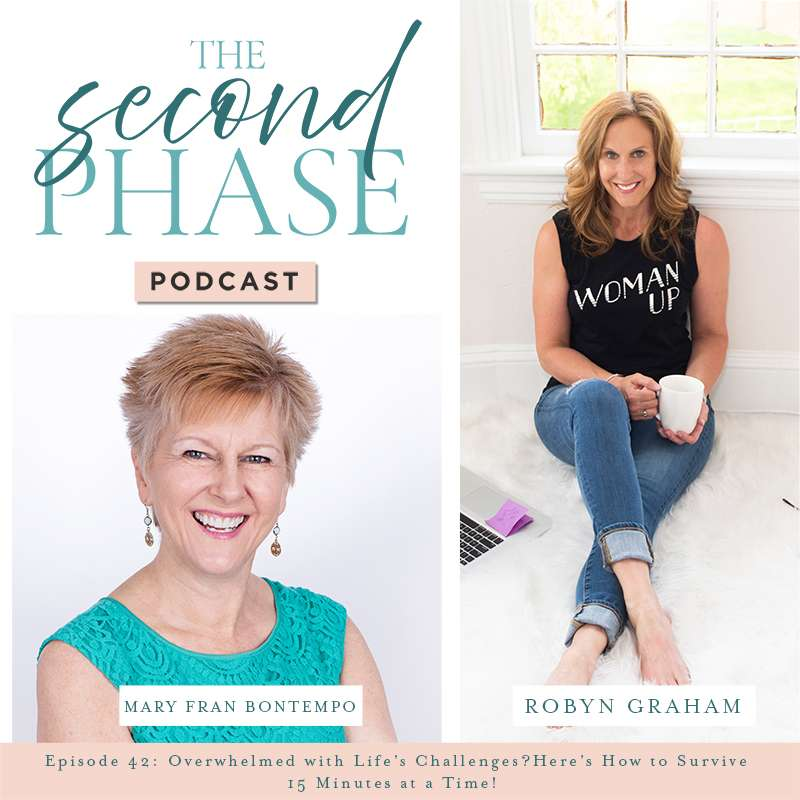 The podcast graphic has a photo of Mary Fran Bontempo in the bottom left hand corner under the podcast logo. Mary Fran is smiling and wearing a mint green sleeveless lace dress. The graphic also has a photo of Robyn sitting on the floor and wearing a black tank top and jeans.