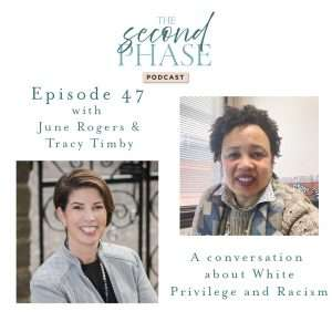 June Rogers, a black woman featured on the top right hand corner of the white square and Tracy Timby, a white woman featured on the bottom left hand corner of the square interviewed on The Second Phase Podcast to talk about Racism and White Privilege.