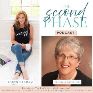 Julie Hale Maschhoff interviewed on The Second Phase Podcast. Julie is featured in the bottom right hand corner of the podcast graphic, wearing a black dress, pearl necklace, classes and smiling at the camera. She shared her journey learning how to stop, look and listen to find peace through God's Plan for Her.